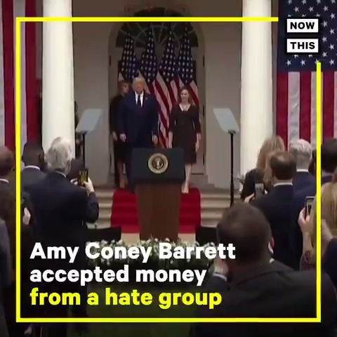 Amy Coney Barrett accepted money from a hate group that supports the recriminalization of homosexuality in the United States. She was pressed on this issue in her 2017 federal judge appointment hearing.