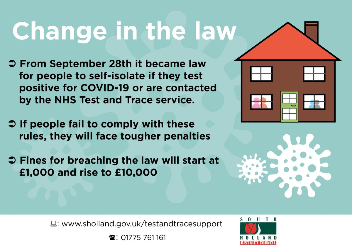 From 28 September it became law for people to self-isolate if they test positive for #COVID19 or are contacted by the NHS Test & Trace service. ✋🏠  If people fail to comply with these rules, they will face tougher penalties.  More information 👉 https://t.co/nKmNNZcZHw https://t.co/MOnvmrgqBK