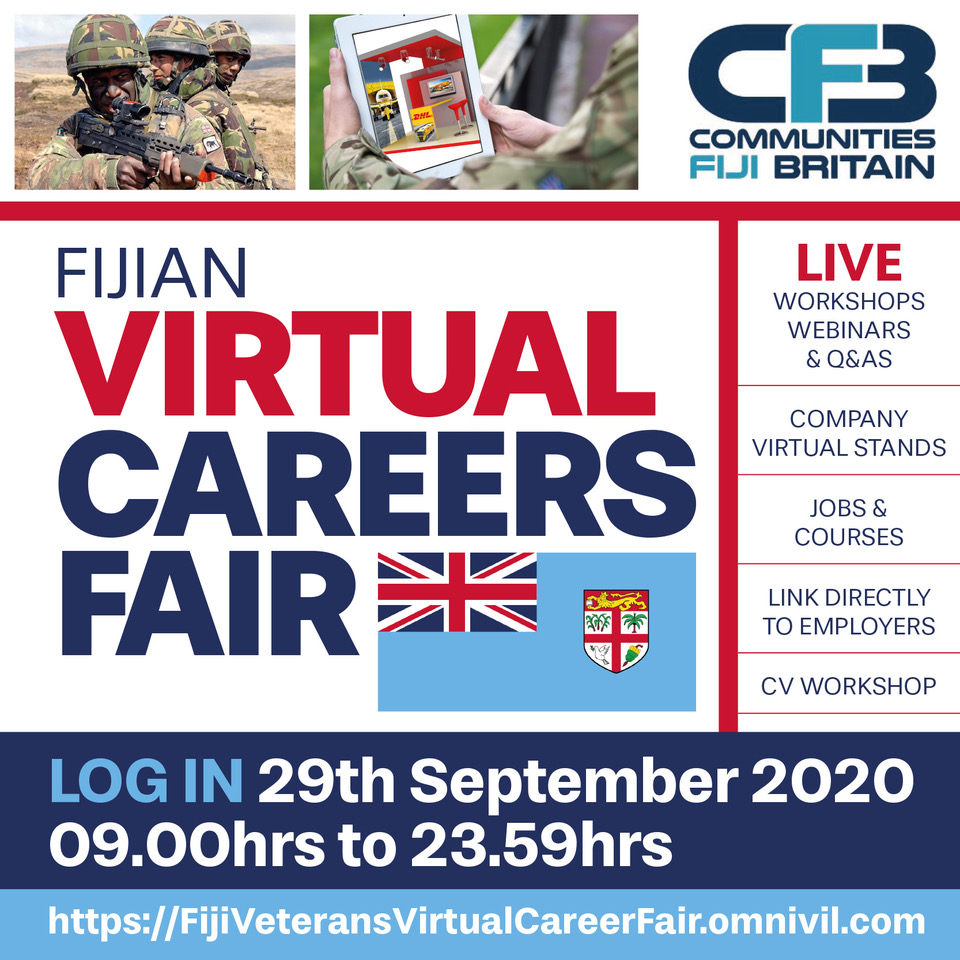 The Fiji Veterans Virtual Career Fair is LIVE! Join us at our virtual stand here:  https://t.co/TYn1NoDH2s Workshops, Webinars and Q&A's until 23.59hrs today! #CommunitiesFijiBritain #BFRS_Virtual #VirtualCareerFair #servingthosewhoservedus https://t.co/5ci0yOoYLO