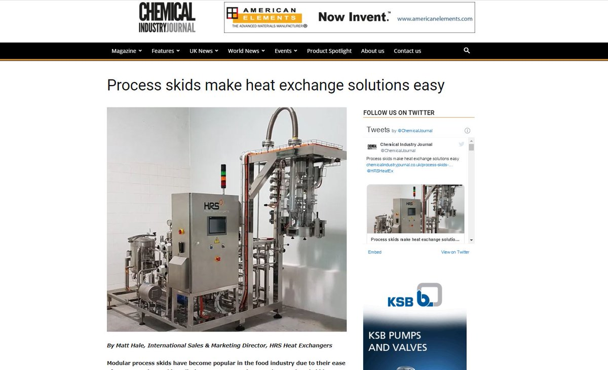 test Twitter Media - HRS Heat Exchangers is featured in @ChemicalJournal on Process Skids Make Heat Exchange Solutions Easy. Modular #processskids have become popular in the #foodindustry due to their ease of transportation and installation. Read more. #heatexchangers https://t.co/dHJVDJvmp9 https://t.co/qCedN7jYnt