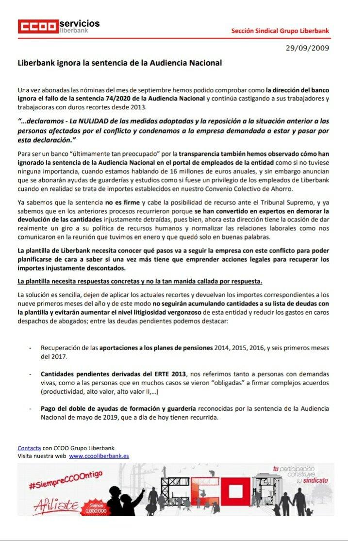 🟥🟥⭕ Comunicado 🔴🔴🔴 @ccooliberbank  ⬛ LIBERBANK IGNORA la sentencia de la Audiencia Nacional  • La plantilla necesita respuestas concretas y no la tan manida callada por respuesta. #ActuarEsEsencial #CCOOseMueve #MarcamosLaDiferencia @serviciosccoo @ChemaMartinez63  #CCOO https://t.co/NLmBJeydkm