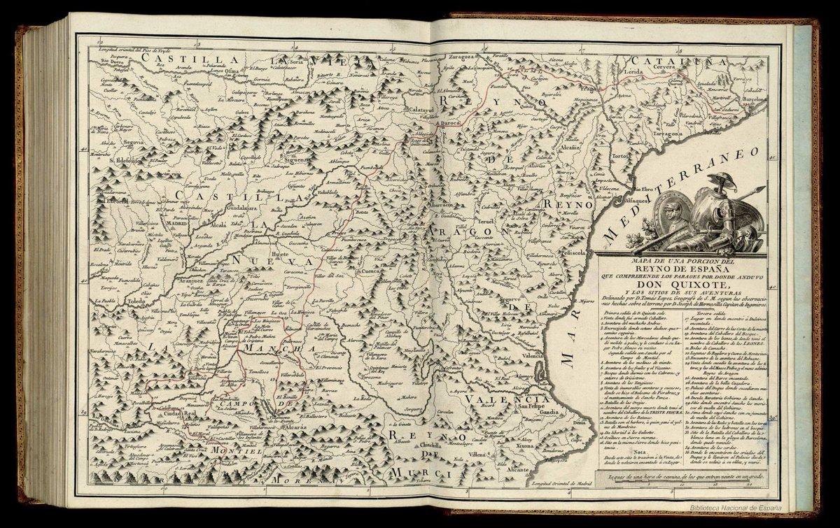 Tal día como hoy, pero hace 473 años, nacía Miguel de Cervantes.  ¡Felicidades, @eldelquijote!  Es buena excusa para recordar los mapas que reproducían las rutas de El Quijote, que se realizaron a partir del s. XVIII, de los que destaca este, realizado por Tomás López en 1780. https://t.co/fX9xUCf8fx