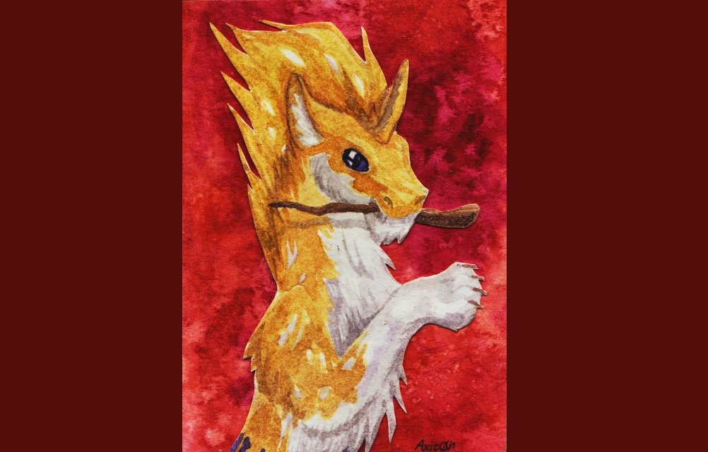 Firefly (stardog) March 2020  I have drawn a card for AstaraBriarart. Aquarelle paints, 2.5'x3.5' (64*89) mm. #aceo #aquarelle #atc #stardog #stick #fantasy #aceo #atc #dragon https://t.co/zwD75pvxUW