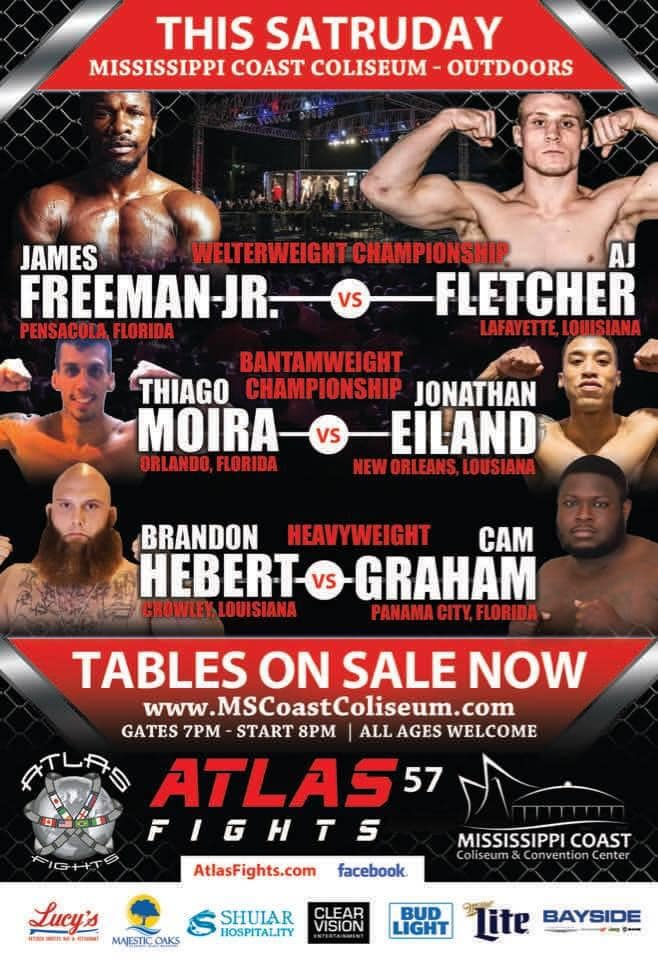 Biloxi, it's time to turn it up.  #AtlasFights57 has a welterweight championship headliner featuring James Freeman, Jr., who is coming off a spirited fight with Brok Weaver. He faces #AJFletcher for #mma gold.   @AtlasFights streams LIVE on #FITE  Oct. 3  https://t.co/tzBHzEsU0O https://t.co/afj12bljDe