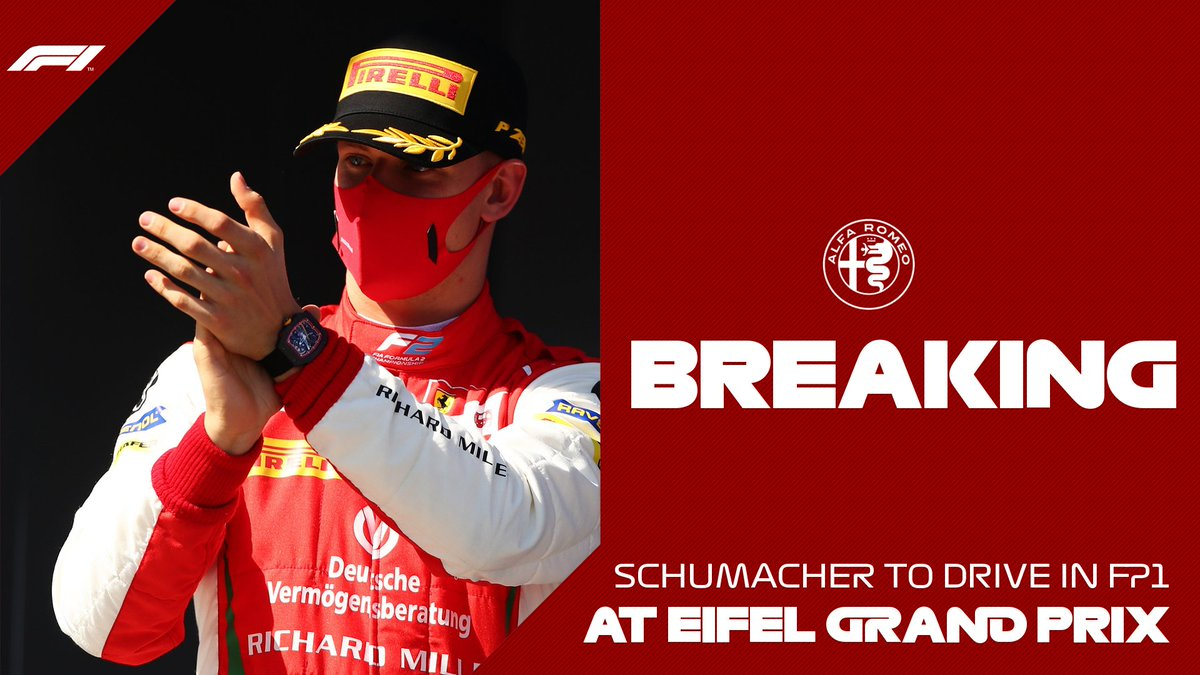 BREAKING: @SchumacherMick will drive for @alfaromeoracing in FP1 at the Eifel Grand Prix!  He will be joined by @callum_ilott - who will drive in FP1 for @HaasF1Team   Ferrari Driver Academy also confirm that @ShwartzmanRob will feature in FP1 at the Abu Dhabi Grand Prix   #F1 https://t.co/2mCbSgGYue