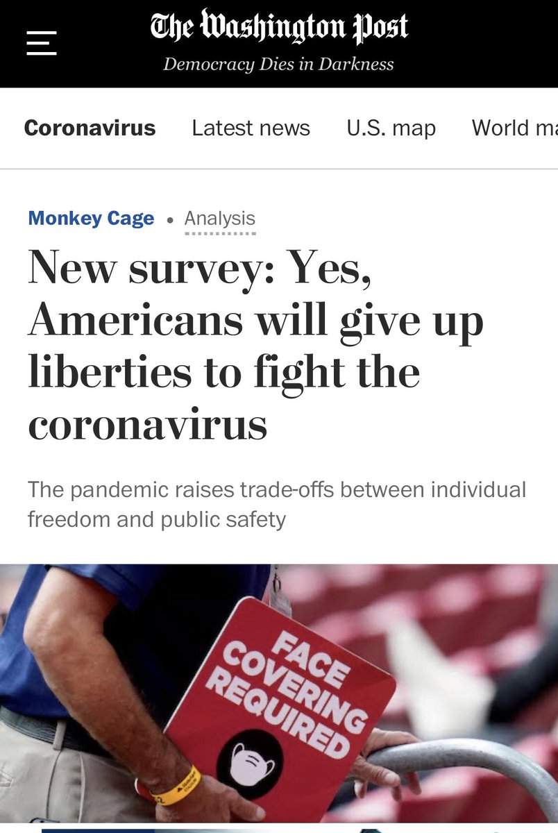 Washington Post is proud to announce that Americans will give up freedom to fight coronavirus.  I'm sure this WaPo survey has sampling bias, but still a scary thought.  Remember, it's always harder regaining freedom than giving it up. https://t.co/xnOsqD0ZlA