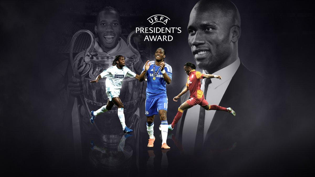 🏅 ¡Enhorabuena a @didierdrogba!   El marfileño ha sido galardonado con el Premio Presidente de la UEFA  2020. 👏  #UEFAawards https://t.co/yV4YfSfHln