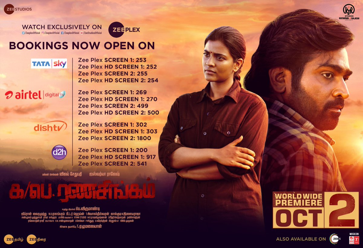 BOOKINGS OPEN!😃 Start Booking Your Tickets Already & Enjoy The Worldwide Premiere Of #KaPaeRanasingam On @Zeeplexofficial At The Comforts Of Your Home At Just 199/- ICYMI, Here's How U Can Book !  #RanasingamFromOct2 ! @VijaySethuOffl @aishu_dil @pkvirumandi1 ! @kjr_studios ! https://t.co/cULOs3qakW
