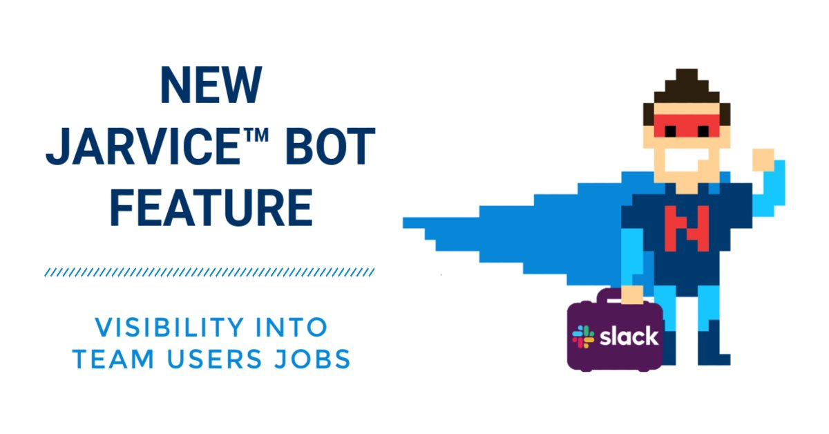 """#JARVICE Bot for #Slack users can now use the direct message command """"Team Jobs"""" to view information about your team users jobs. Try it in your #Slack workspace today. https://t.co/GyOwVCljOQ https://t.co/tQizkmupMO"""