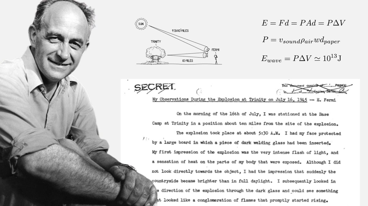 Today is the 119 anniversary of the birth of Enrico Fermi. In 1945, Fermi calculated the power of the Trinity atomic bomb based on the distance traveled by pieces of paper he dropped during the blast. Heres the 1-page report he wrote after the explosion: fermatslibrary.com/s/my-observati…