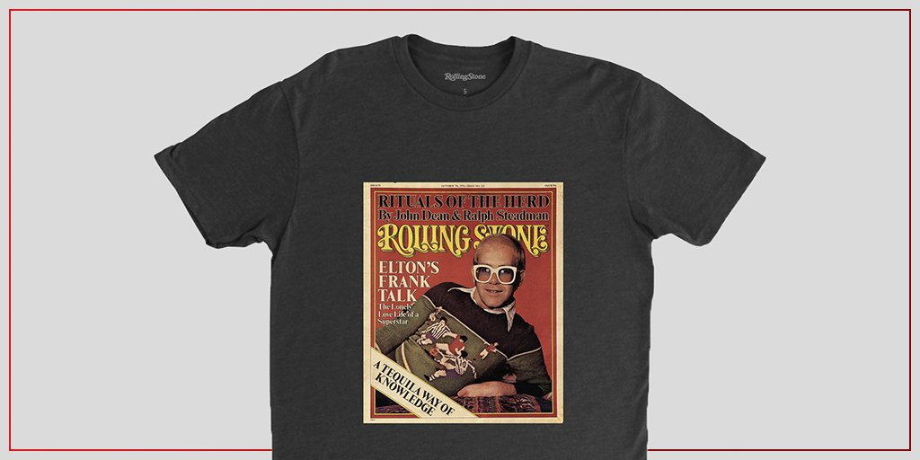 Posing for the magazine in his signature specs and kitted out sweater, Elton John addressed his sexuality for the first time in the accompanying interview to this 1976 cover. Get this tee here:  #RollingStoneShop