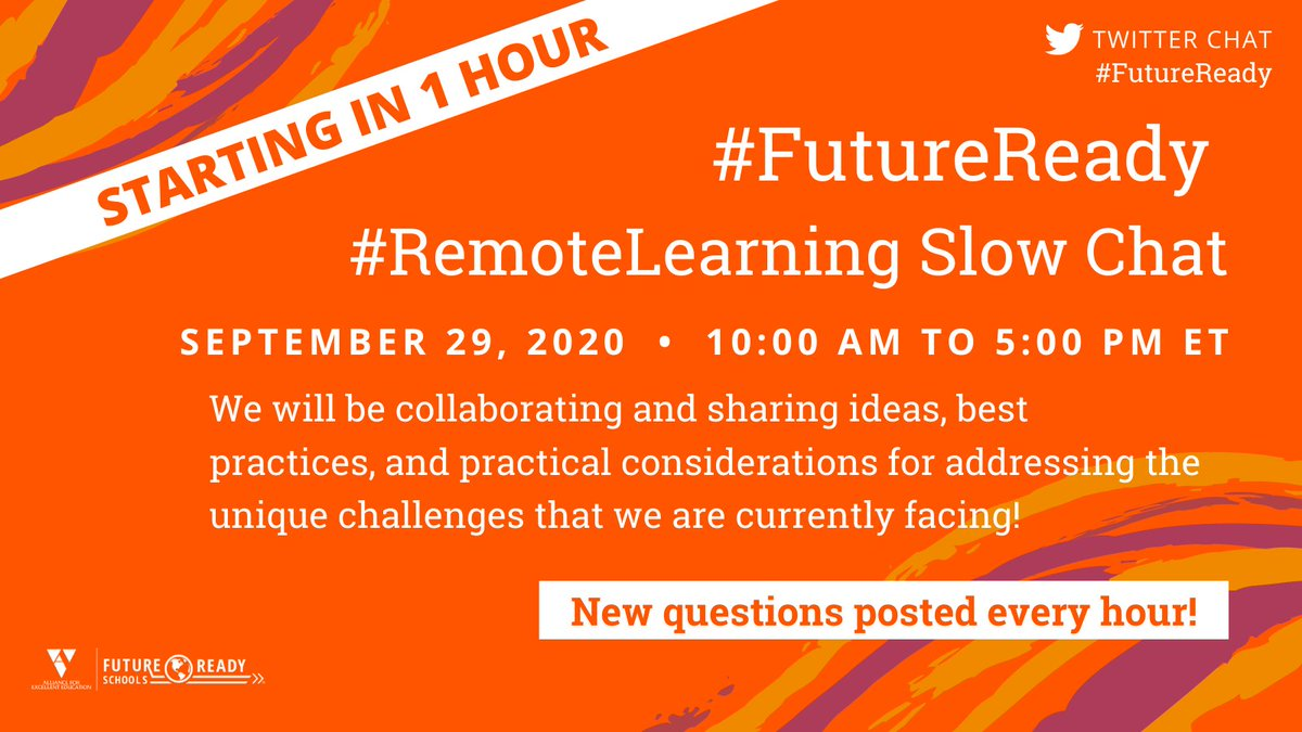 Less than ONE HOUR until today's #FutureReady slow chat! Join us to talk about all things #RemoteLearning starting at 10a EST!  For yesterday's #RemoteLearning release, visit: https://t.co/9rOktGIwN2 https://t.co/TZC4oqeOIS