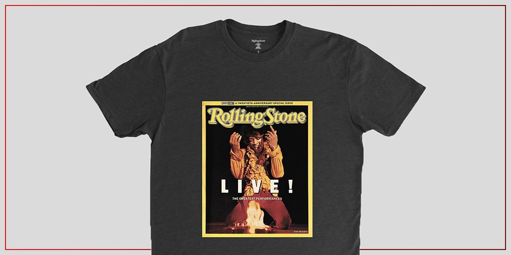 This 1987 issue, and Jimi Hendrix's fifth cover, commemorated our 20th anniversary by showcasing the unforgettable image of Hendrix setting his Fender Stratocaster ablaze. Purchase a tee with the eye-catching photo here:  #RollingStoneShop