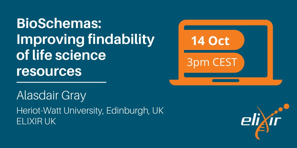 How do we make life science resources more discoverable?  Join us for the #ELIXIRwebinar, @gray_alasdair will present the @BioSchemas community that extends https://t.co/LK4SRbJeod to biological data, tools and other resources!   🗓️ 14 Oct, 15.00 CEST https://t.co/QoDjZ3TPAB https://t.co/4UD0I2fUKO