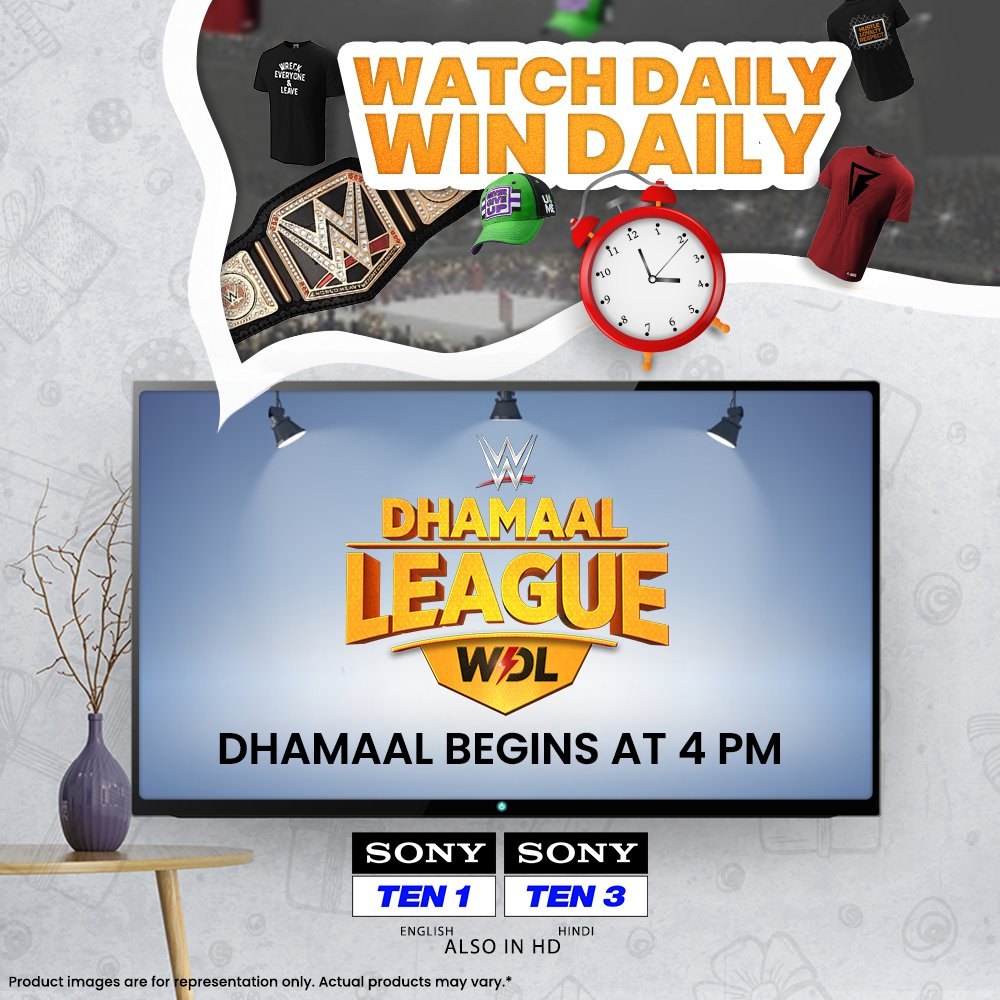 Here's your chance to be a DHAMAAL winner daily 🤩  All you got to do is watch #WWE Dhamaal League at 4⃣ PM daily and answer simple questions 📲 📺 Sony TEN 1 (English), Sony TEN 3 (Hindi)  #WDL #WWEDhamaalLeague #SonySports #WWEIndia #WWEonSONY #SirfSonyParDikhega #ContestAlert https://t.co/eQXNrCqDai