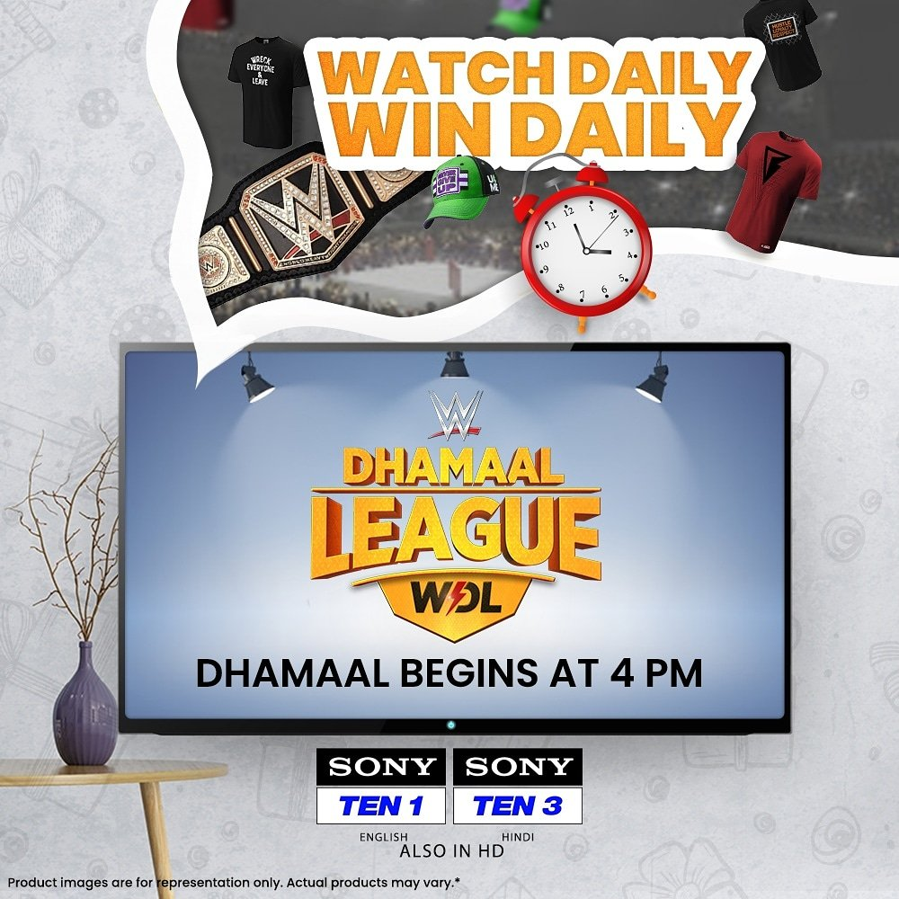 Here's your chance to be a DHAMAAL winner daily 🤩  All you got to do is watch #WWE Dhamaal League at 4⃣ PM daily and answer simple questions 📲 📺 Sony TEN 1 (English), Sony TEN 3 (Hindi)  #WDL #WWEDhamaalLeague #SonySports #WWEIndia #WWEonSONY #SirfSonyParDikhega #ContestAlert https://t.co/yZLPH1Jw1u