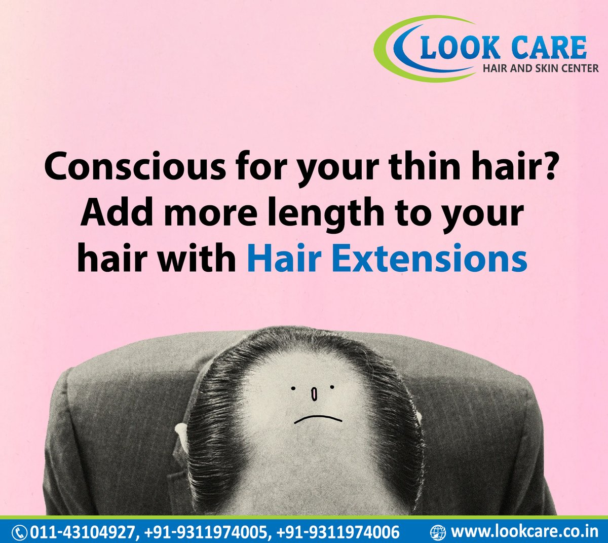 Conscious for your thin hair ?? Add more length to your Hair with Hair Extensions at Lookcare  Book your appointment now .  Contact. 011-43104927, 9311974005 , 9311974006.  #Hairextensions #Baldness #Hairpatchservice #HairLoss #HairPatchtreatment #Nonsurgicaltreatment #Baldness https://t.co/55Hs5gtG7U