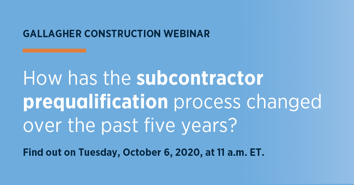 🏗Dont miss our #Construction Webinar. Join us October 6 as we share insights on the #Subcontractor Prequalification Process. bit.ly/2G9wFST #SubContracting#ConstructionRisk#RiskManagement #ConstructionSafety