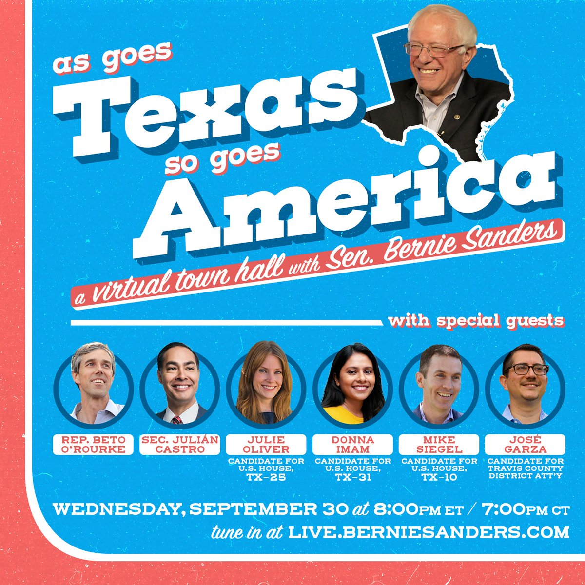 Really looking forward to this virtual town hall with @JulianCastro, @BetoORourke, @BernieSanders, and more about the positive change we're fighting for in Texas - healthcare, fairer taxes, good-paying jobs, justice, and how we can rebuild our economy.  Wednesday at 7pm CST! https://t.co/EXT8Ey8PIk