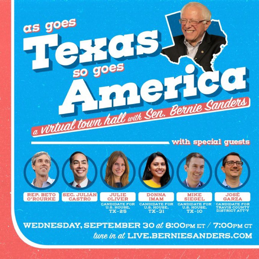 Looking forward to joining @BernieSanders, @BetoORourke and a handful of fantastic people first candidates for a town hall tomorrow focused on turning Texas blue.   Tune in at the link in the graphic below or on our social pages tomorrow at 8pm ET/7pm CT. https://t.co/R7WMFGRTIg