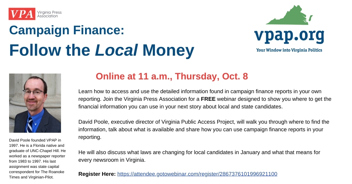 It's not too late to sign up for tomorrow morning's webinar on Campaign Finance: Follow the Local Money.