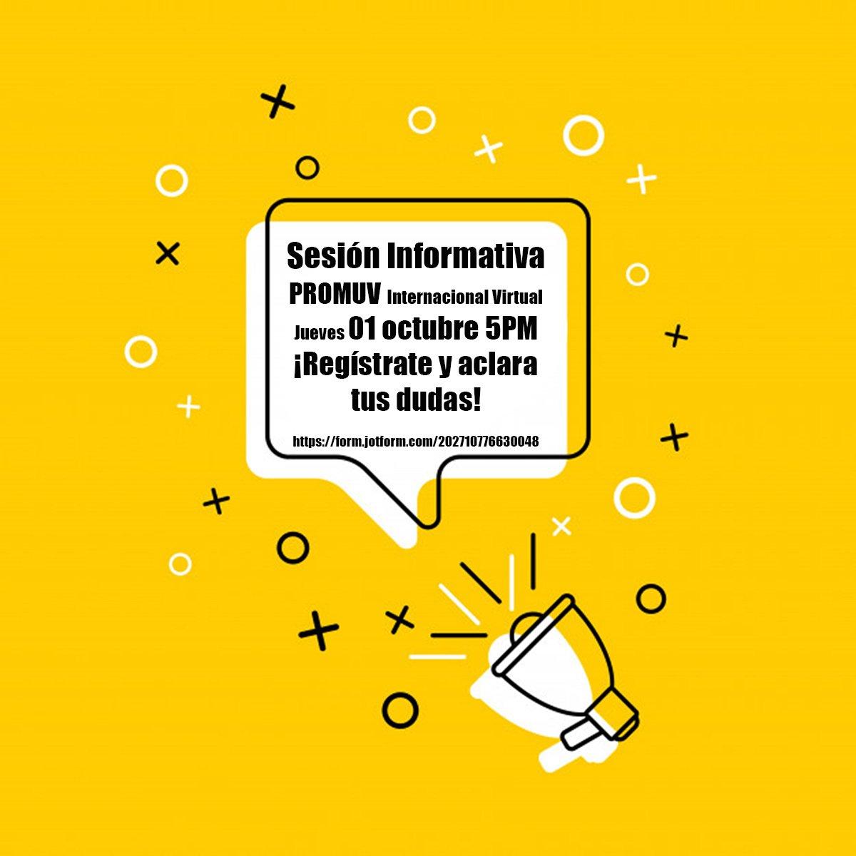 #EstudianteUV, estás interesado en hacer una movilidad internacional y no sabes por dónde empezar? Te invitamos a la sesión informativa virtual del Programa de Movilidad de la UV. Regístrate y aclara tus dudas. https://t.co/Aq8mNmdog6