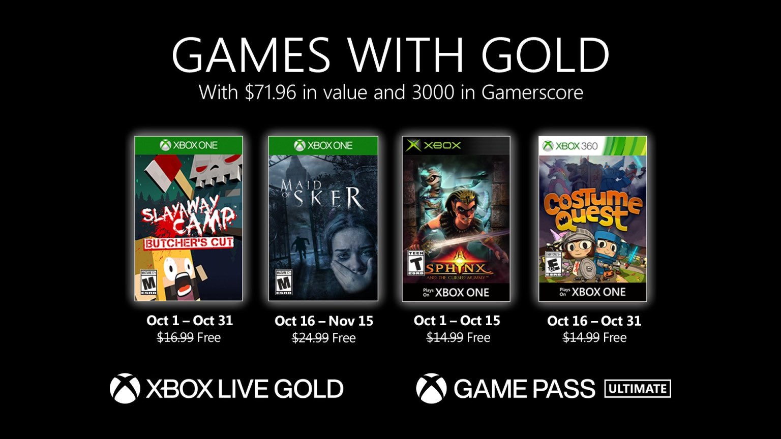 Xbox Live Games with Gold October 2020