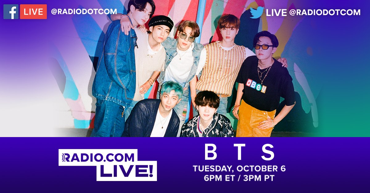 Hey #BTSArmy! We're SO excited to announce 💥@BTS_twt💥 will be joining us Tuesday, October 6th for a very special #RadiocomLIVE performance, right here on Twitter! 💜 #RDCxBTS  @BTSx50States | @USBTSARMY | @BTSonShazam | @bts_bighit https://t.co/x8NrbeOQKa