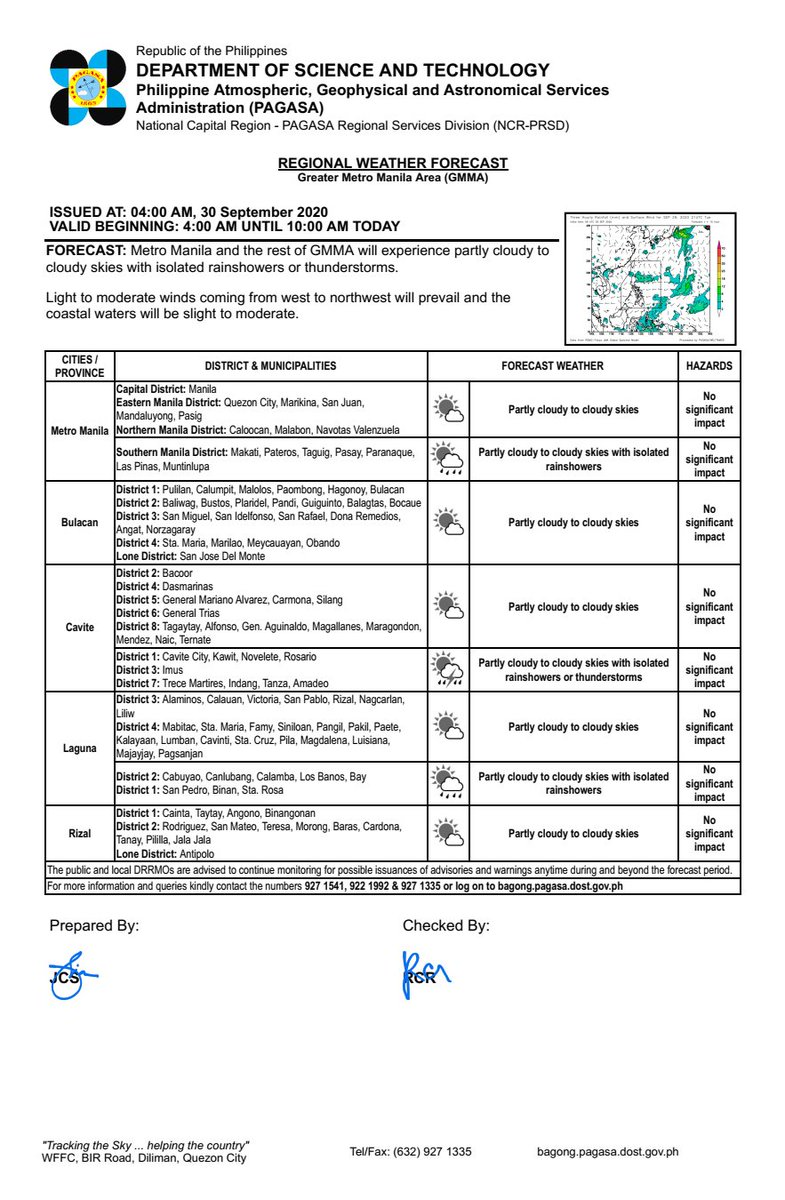 REGIONAL WEATHER FORECAST for GREATER METRO MANILA AREA (GMMA) #NCR_PRSD Issued at: 4:00 AM, 30 September 2020 Valid Beginning: 4:00 AM - 10:00 AM today  https://t.co/fiReKijVAd https://t.co/7Vqi7qJ3tZ