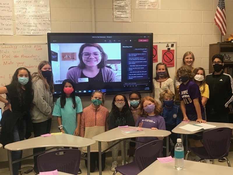 Social distancing can't stop collaboration! Ms. Burel's students learned about the Holocaust via a Teams meeting with a KSU facilitator last week. Now they are ready to begin reading Milkweed. #LearnLikeACane #Milkweed @JerrySpinelli1 @cvilleschoolsys https://t.co/4IMENebCL2