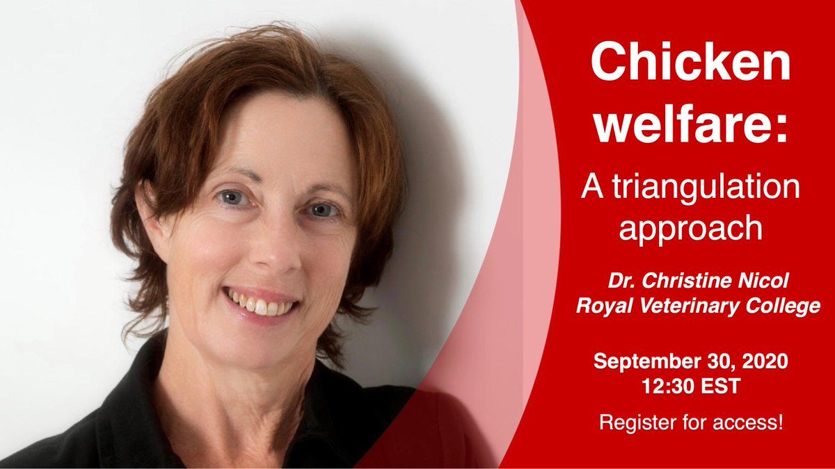 "Our monthly seminar is tomorrow (Sept 30) @ 12:30 EST!! Dr. Christine Nicol will be presenting ""Chicken welfare - a triangulation approach""🐔  Register here: https://t.co/PbRcJ3QAEm  + join our listserv (https://t.co/wf0rt9LAAq) to catch upcoming seminars next month and beyond! https://t.co/Z6ZBMazZyw"