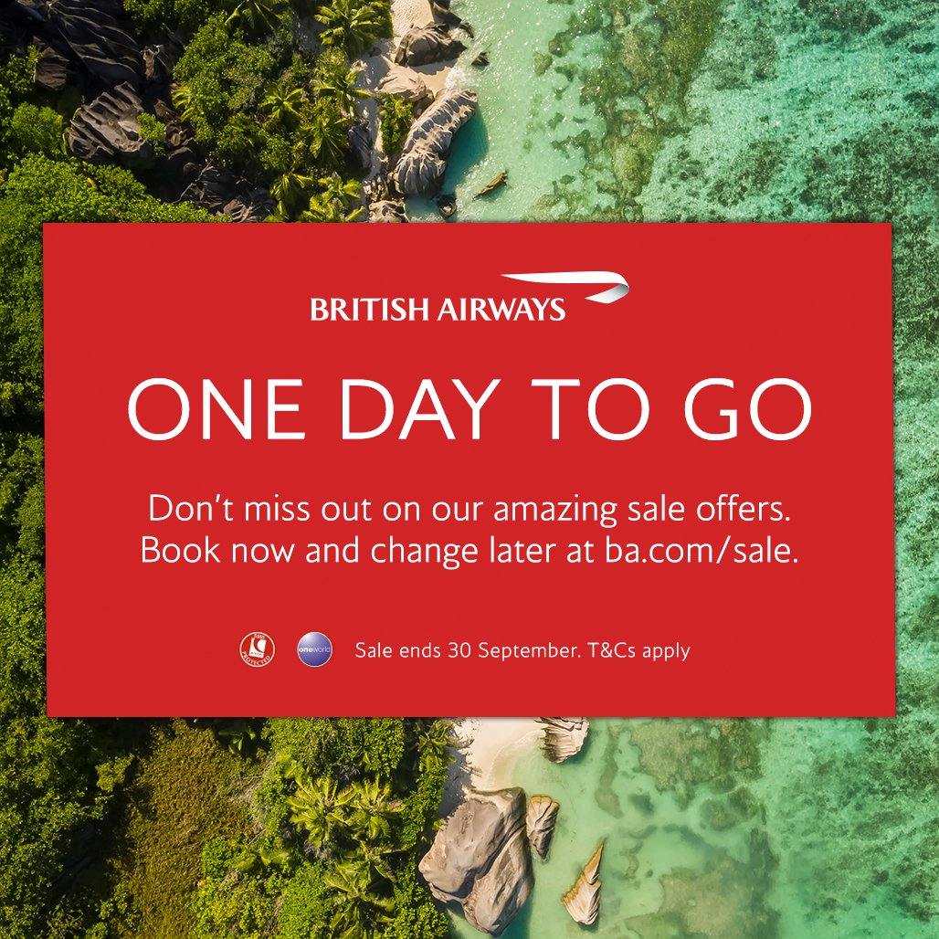 There's only one day left of our sale! Don't miss out on our amazing deals, book at https://t.co/1MzKkJmVeY. UK customers only. Terms apply. https://t.co/G80fpTGldx