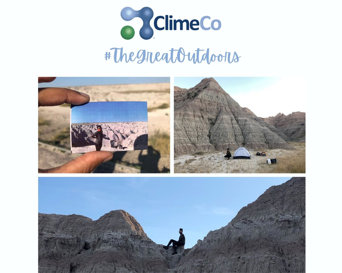 Follow our #TheGreatOutdoors posts over the next few months to see what our team is up to in their downtime.  Project Manager, Kendall Bedford, went on a camping road trip this summer to South Dakota. Pictured, is her in front of the Badlands, climbing on the rock formations. https://t.co/WDqQKDFXSk