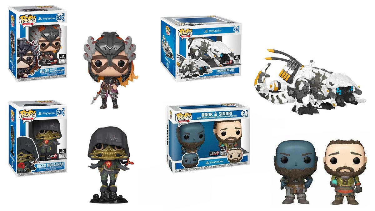 New Playstation Pops coming exclusively to Gamestop! ◘ Aloy (Shadow Stalwart Armor) ◘ Higgs Monaghan ◘ Thunderjaw ◘ Brok and Sindri 2 Pk  thanks @anerdydad https://t.co/bWxXUkxp87