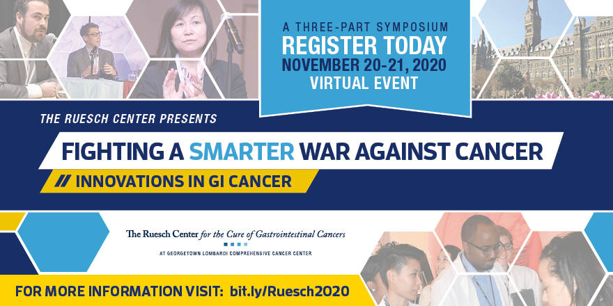 Registration is now open for the virtual 11th Annual Ruesch Symposium, Innovations in GI Cancer on November 20-21, 2020. Learn more about this year's exciting agenda and speakers for this event! https://t.co/TdemlVFaU2 @MedStarGUH @LombardiCancer @GUMedicine https://t.co/Tr3IxyWL1B
