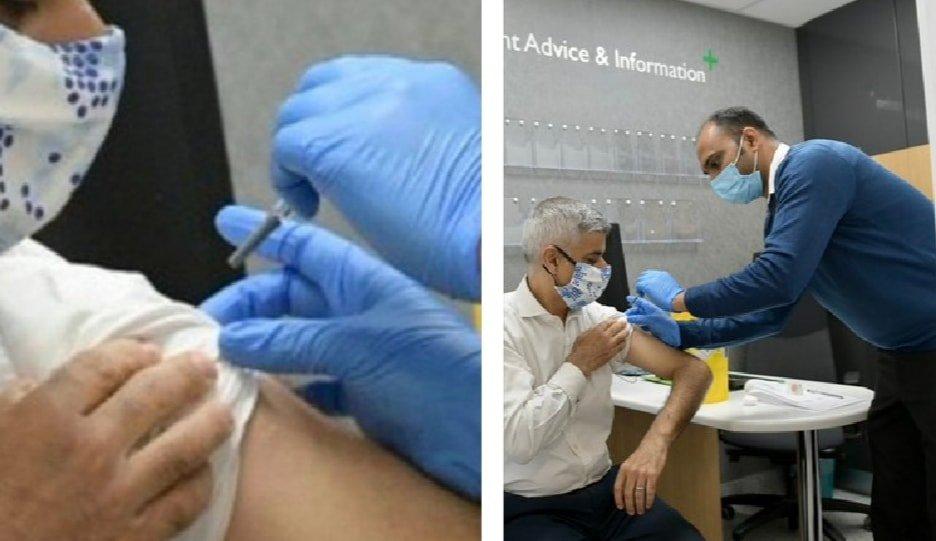 """Le maire de Londres Sadiq Khan se fait """" vacciner  """" contre la grippe, pour inciter la population à le faire , mais quand on fait un zoom , on s'aperçoit qu'ils ont laissé le capuchon ...   😎😎😎   - De Momo  Independenza webtv https://t.co/0qwWe3MM7o"""