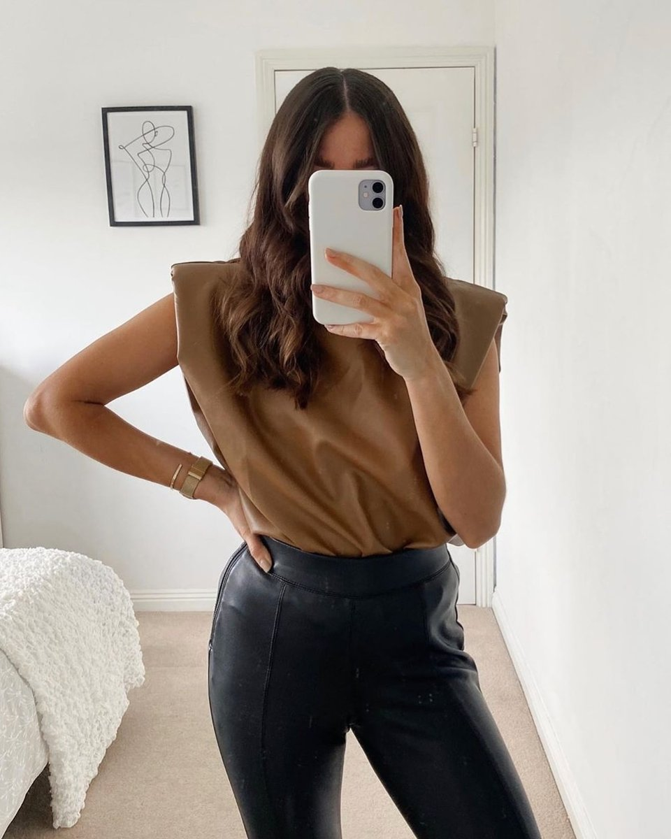 Image for BACK IN STOCK 🍂  The Harley faux leather top seen on @sophieapps 📸  Shop all colours 👉🏽 https://t.co/5y08kiCEy7 https://t.co/R3OfAkMs1S
