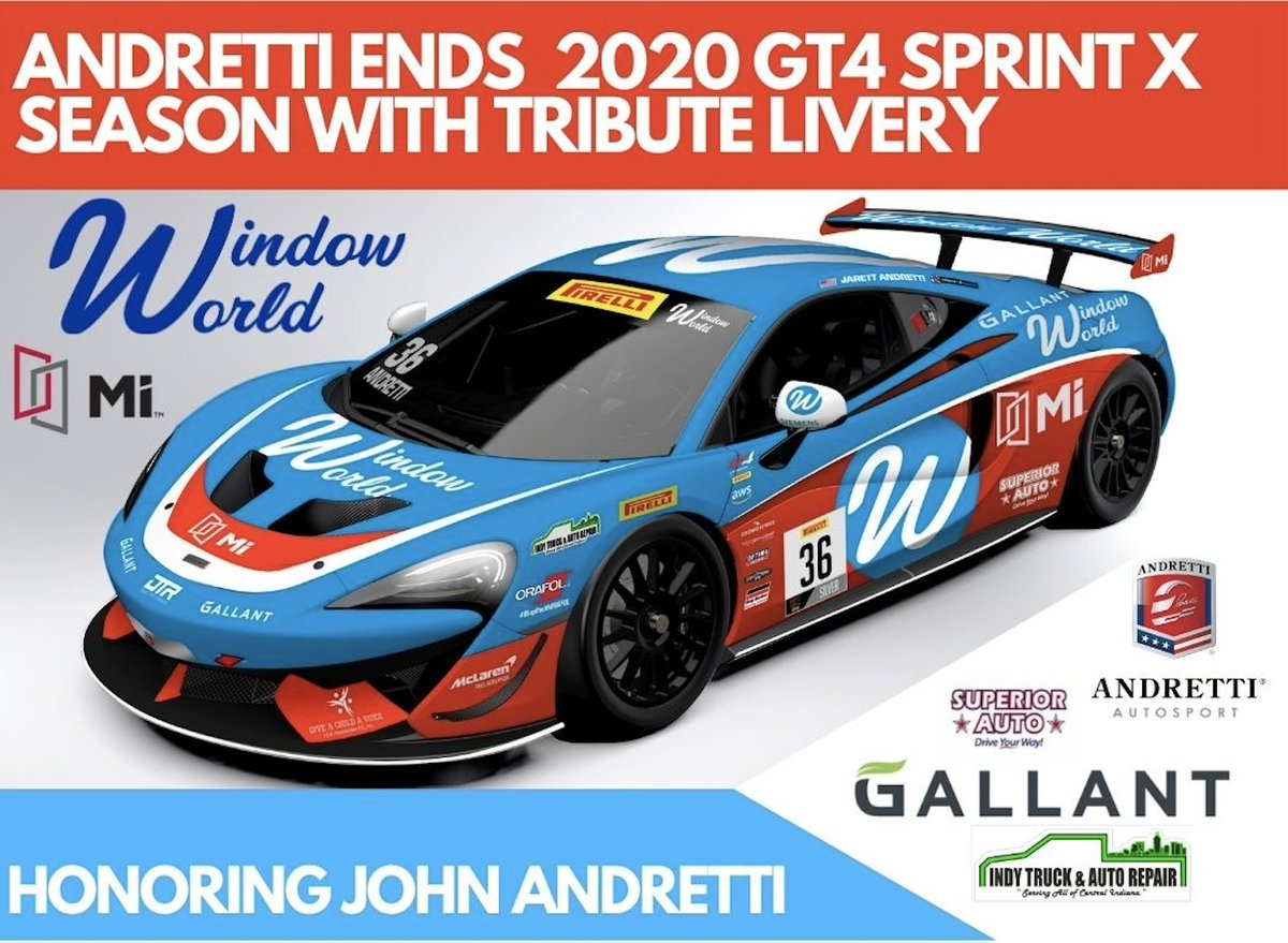 🚨NEW LIVERY for @FollowAndretti Andretti #36 @WindowWorld @MIWindows1947 @McLarenPHL this weekend for final @GT4America Sprint X race @IMS . Special design pays tribute to John Andretti.  #CheckIt4Andretti #Race4Riley #AllAndretti https://t.co/QEt3HzcfZB