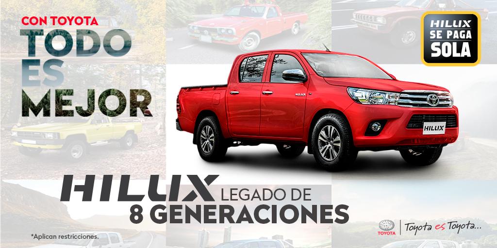Solo Hilux es el legado y evolución durante 8 generaciones. La camioneta con diseño robusto, cómoda y con gran capacidad de respuesta y seguridad solo #HILUX. #ConToyotaTodoEsMejor encuéntrala desde $29.990* , más información aquí: : https://t.co/C6Qyt2oVpR #ToyotaEsToyota https://t.co/LE1FW5uEUw