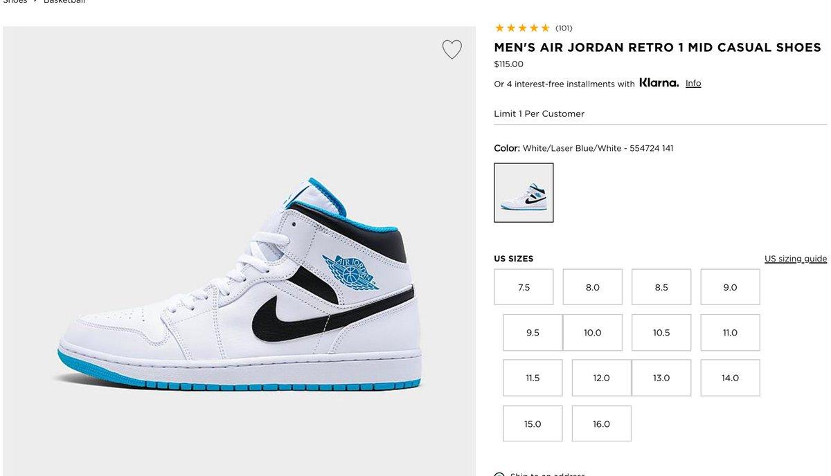 Ad: LIVE via JD Sports Air Jordan 1 Mid 'White/Laser Blue'  => https://t.co/VZa2WO6qZB => https://t.co/VZa2WO6qZB https://t.co/hnLliFLg7d