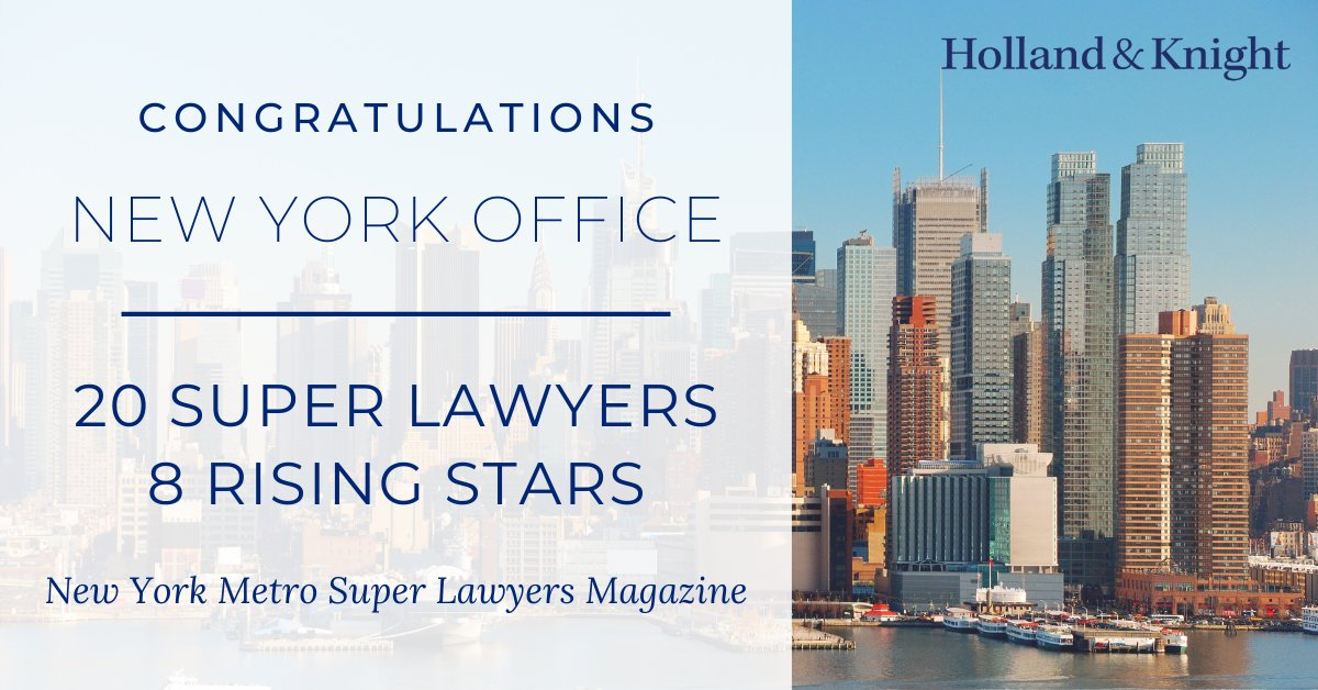 We are pleased to announce that 20 #NewYork attys have been named #SuperLawyers and 8 named #RisingStars by @SuperLawyers magazine. These honors recognize outstanding lawyers who have attained a high degree of peer recognition and professional achievement. https://t.co/iOxrUIBzFg https://t.co/WbO5vSC7xu