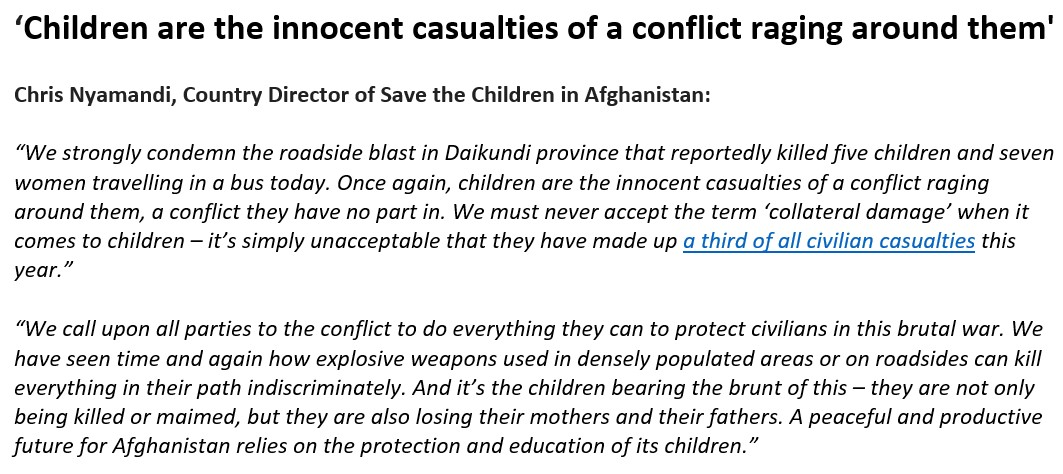 STATEMENT: We condemn the roadside blast in #Daikundi #Afghanistan that reportedly killed 5 children and 7 women travelling in a bus. Time and again explosive weapons used in densely populated areas or on roadsides kill everyone in their path. Its time to #StopTheWarOnChildren