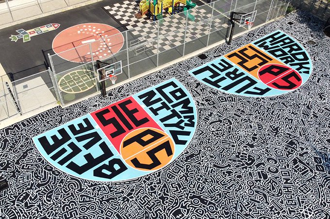 .  illustrates large basketball court for students in brooklyn, new york