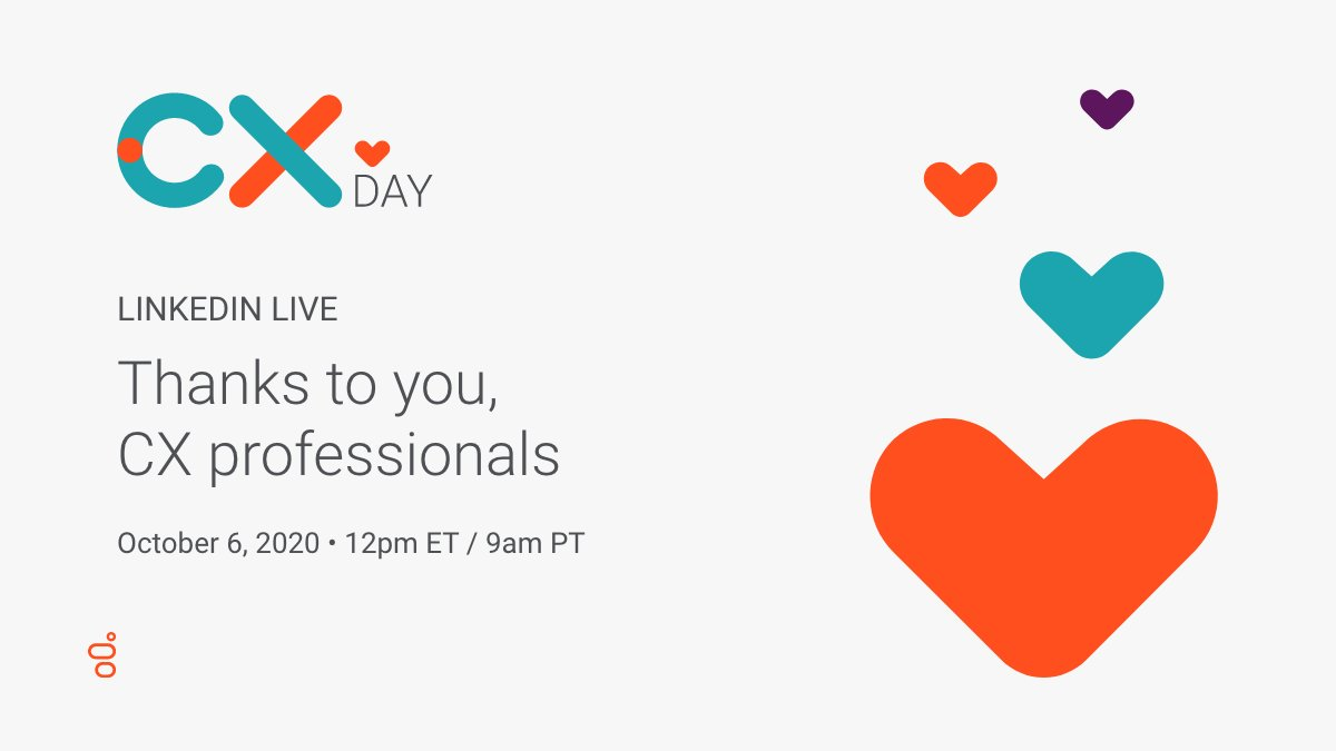 This #CXDay 🧡 join us over on LinkedIn for a special #LinkedInLive to honor the people who kept customer service going when the world stopped — 𝒂𝒈𝒆𝒏𝒕𝒔.   Plus, we'll announce our next #CXHeroes winner!🏆   🗓️ Oct. 6 ⏰ 12PM ET https://t.co/oBrozwuCKa