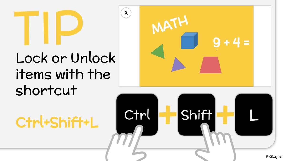 TIP - Lock or Unlock items in @Seesaw with the shortcut:  Ctrl + Shift + L  #seesawchat #distancelearning #k2cantoo #remotelearning https://t.co/ZuxoaHJ4FR