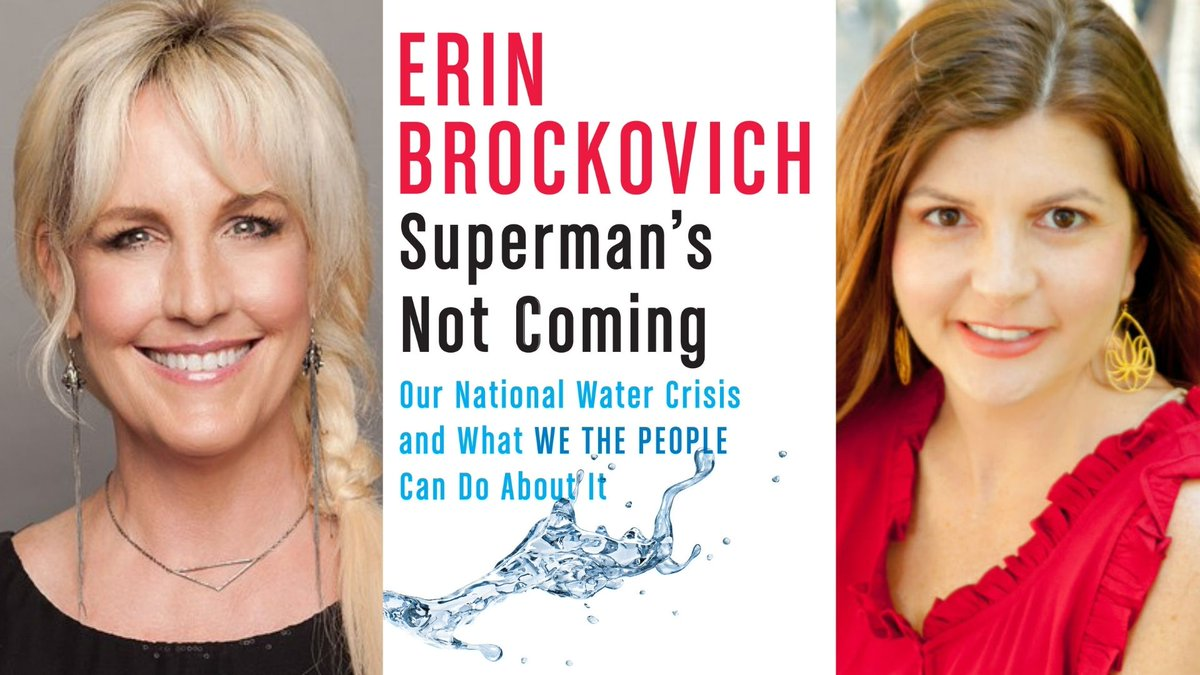 Tomorrow! Wednesday 9/30 at 6pm ET join @ErinBrockovich and @SuzanneWriting for a conversation about SUPERMANS NOT COMING, a book that looks at the present situation with water and how we can each take action locally. Hosted by @Malaprops. malaprops.com/event/live-str…