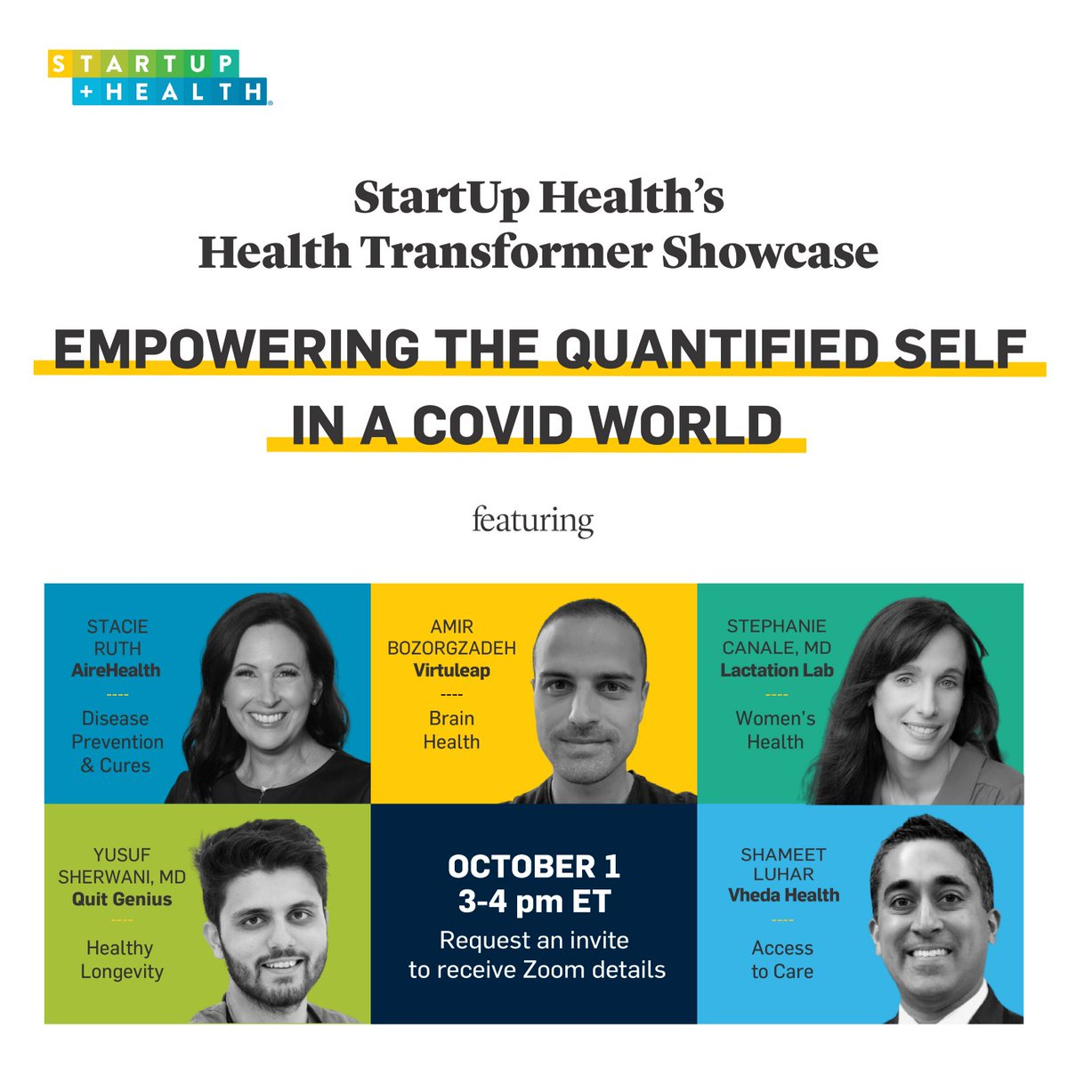 This Thursday, 10/1, request an invite to hear from 5 innovative leaders from our portfolio who have been dedicating their lives to help empower individuals to be more involved in the management of their own health. 💡 https://t.co/kvopdcKjO1 https://t.co/KKIJ9Zofxz