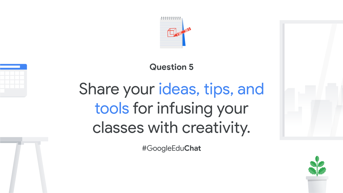 Q5: What tips, tools, and/or resources do you recommend for bringing more creativity into your virtual or in-person classrooms? Share your favorite activities or ideas! https://t.co/uObGbkSJay