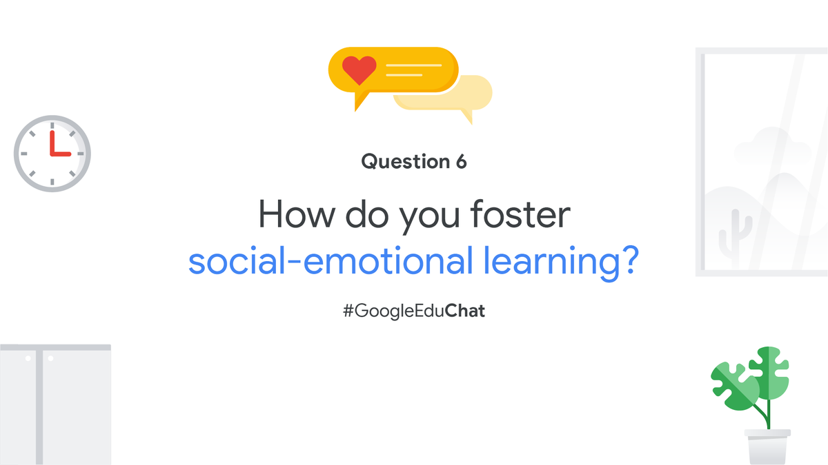 Q6: In today's learning classrooms—virtual, in-person, or hybrid—helping students understand and manage emotions can help them stay engaged and cope with challenges. What are some ways that you foster #SEL? Share your activities, ideas, and methods. https://t.co/na8ndRuYLo