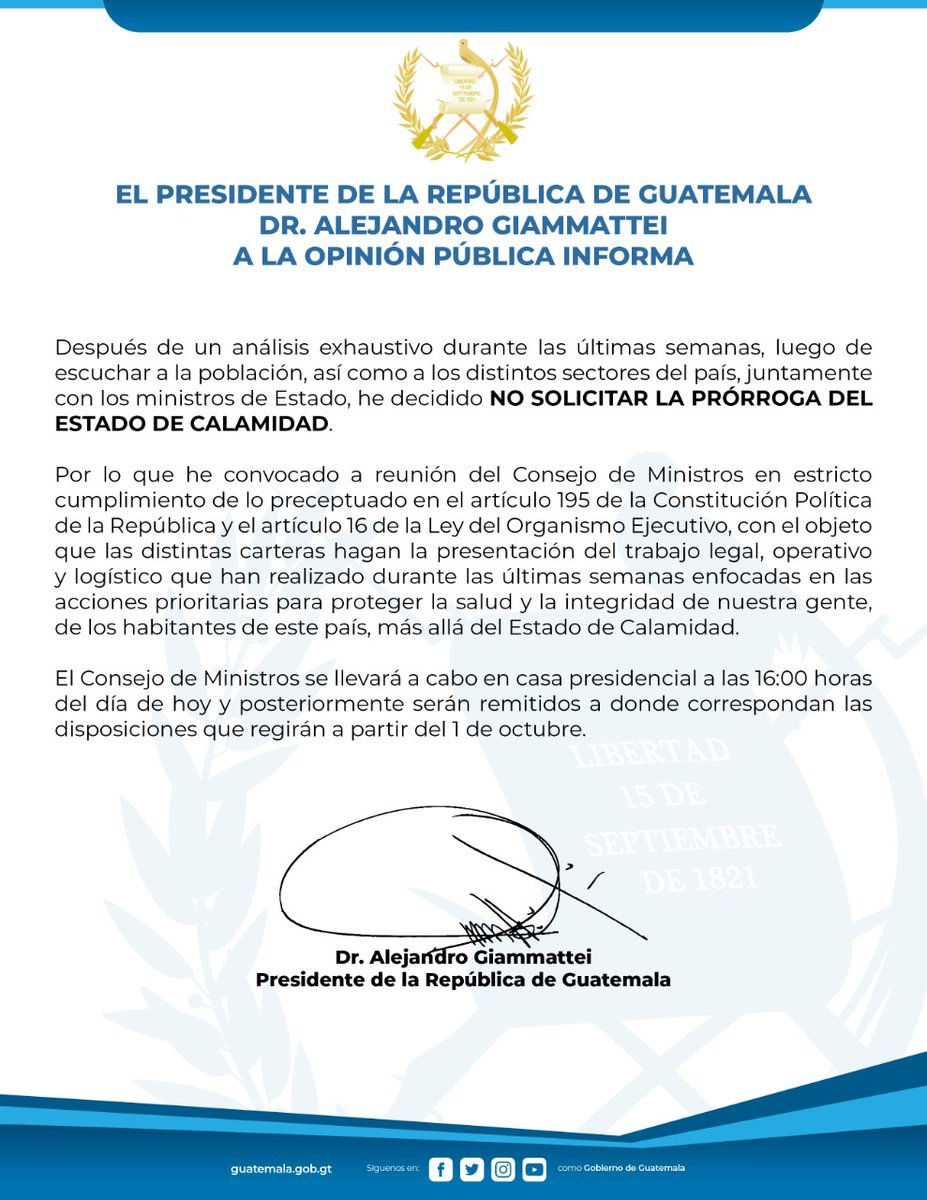 test Twitter Media - En un comunicado, el presidente Alejandro Giammattei manifiesta que no se solicitará prórroga al Estado de Calamidad https://t.co/jmHkGyZAqY